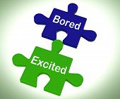 Bored Excited Puzzle Means Exciting And Fun Or  Boring