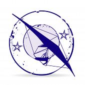 pic of hang-gliding  - Stamp Hang Gliding in blue with stars - JPG