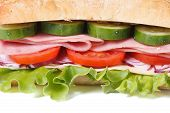 Ciabatta Sandwich With Ham And Vegetables Isolated Close-up