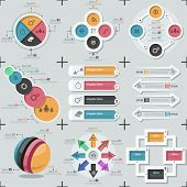 picture of web template  - Set of 9 flat minimal infographic templates - JPG