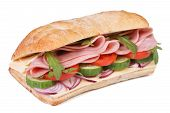 Ciabatta Sandwich With Ham, Fresh Vegetables Isolated