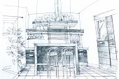 picture of interior sketch  - Graphical sketch by pencil of an interior kitchen - JPG