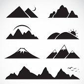 stock photo of snow capped mountains  - Set of mountain icons on white background - JPG