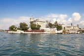 picture of promontory  - Black Sea coast building on a promontory in the bay of city Sevastopol - JPG