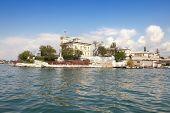 stock photo of promontory  - Black Sea coast building on a promontory in the bay of city Sevastopol - JPG