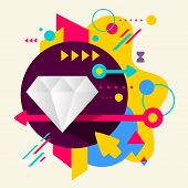 Diamond On Abstract Colorful Spotted Background With Different Elements
