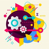 Cogwheel On Abstract Colorful Spotted Background With Different Elements