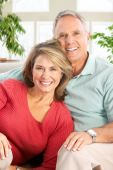 stock photo of elderly woman  - Happy smiling elderly couple at home - JPG