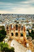 pic of akropolis  - The Odeon of Herodes Atticus view in Athens Greece - JPG