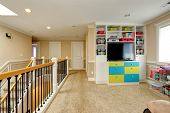 image of upstairs  - Upper level of modern house furnished with built - JPG