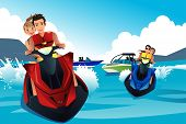 stock photo of jet-ski  - A vector illustration of young people riding jet ski in the summer - JPG