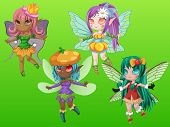 stock photo of pixie  - Pixie girls with wings and hair accessories - JPG