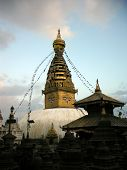 Постер, плакат: Small Stupas In Front Of The Swayambhunath Temple