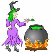 pic of witches cauldron  - vector illustration of a witch cooking a magic potion in the cauldron - JPG