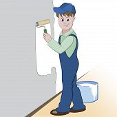 picture of wall painting  - Illustration of worker with roller and paint painting the wall - JPG