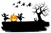 Постер, плакат: Witches Dancing Around The Fire At Halloween