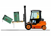 picture of heavy equipment operator  - Orange forklift - JPG