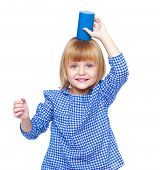 picture of cylinder pyramid  - Little girl plays with a cylinder - JPG