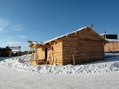 stock photo of olden days  - Construction of rural house - JPG