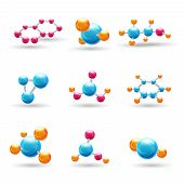 pic of neutrons  - 3d atomic structure chemical molecule models isolated vector illustration - JPG