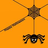 foto of happy halloween  - Happy halloween with spider web and scary spider - JPG