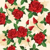 stock photo of voluptuous  - Bright red voluptuous fully opened roses retro seamless pattern for gift and presents wrapping paper vector illustration - JPG