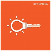 picture of key  - Creative light bulb idea concept with padlock symbol - JPG