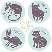 pic of oxen  - Set signs of the Chinese zodiac Rat - JPG