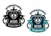 stock photo of shipbuilding  - Marine international shipbuilders retro banner with anchor - JPG