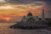 pic of malacca  - Malacca Straits Mosque at sunset in Malaysia located in a man - JPG