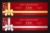 stock photo of coupon  - Exclusive Christmas gift certificate with golden or silver ribbon and snowflakes - JPG