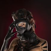 picture of ammo  - Sexy Woman wearing a Ammo Gas Mask studia - JPG