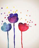 picture of wet  - Watercolor flowers - JPG