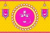 picture of durga  - easy to edit vector illustration of face of Goddess Durga for Happy Navratri - JPG