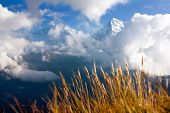 stock photo of nepali  - view from Poon Hill view point to Annapurna Hymal