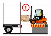 stock photo of deportation  - Dangers of working with a forklift truck - JPG