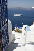 image of cruise ship  - Cruise liner seen from some steps in Fira - JPG