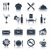 foto of chef knife  - Restaurant food kitchen black icons set with knife fork plate isolated vector illustration - JPG
