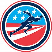 picture of sprinter  - Illustration of a sprinter runner running viewed from side set inside circle with american stars and stripes in the background done in retro woodcut style - JPG
