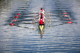 stock photo of boat  - Rowers in eight - JPG