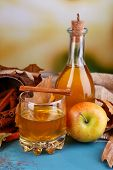 picture of cider apples  - Composition of apple cider with cinnamon sticks - JPG