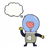stock photo of cyborg  - cartoon robot cyborg with thought bubble - JPG