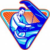 picture of hoods  - Illustration of an auto automobile mechanic repairing car engine with hood open set inside triangle with sunburst in the background done in retro style - JPG