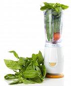 pic of blender  - Blender with fresh vegetables isolated on white - JPG