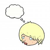 stock photo of raised-eyebrow  - cartoon female face with raised eyebrow with thought bubble - JPG