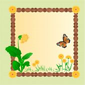 image of primrose  - Frame spring primrose background with butterflies place for text vector illustration - JPG