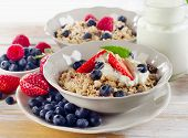 picture of breakfast  - Healthy Breakfast with ripe fresh berries and muesli - JPG