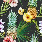 picture of hibiscus  - Beautiful watercolor vector tropical pattern with pineapples and hibiscus - JPG