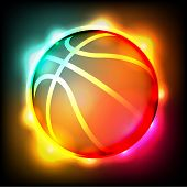picture of glow  - A brightly colored glowing basketball illustration - JPG