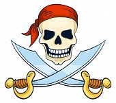 stock photo of skull cross bones  - Cartoon hand - JPG